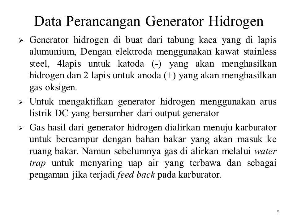 Data Perancangan Generator Hidrogen  Generator hidrogen di buat dari tabung kaca yang di lapis alumunium, Dengan elektroda menggunakan kawat stainles