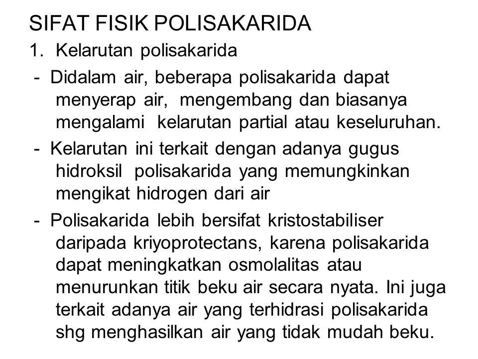 SIFAT FISIK POLISAKARIDA 1.Kelarutan polisakarida - Didalam air, beberapa polisakarida dapat menyerap air, mengembang dan biasanya mengalami kelarutan