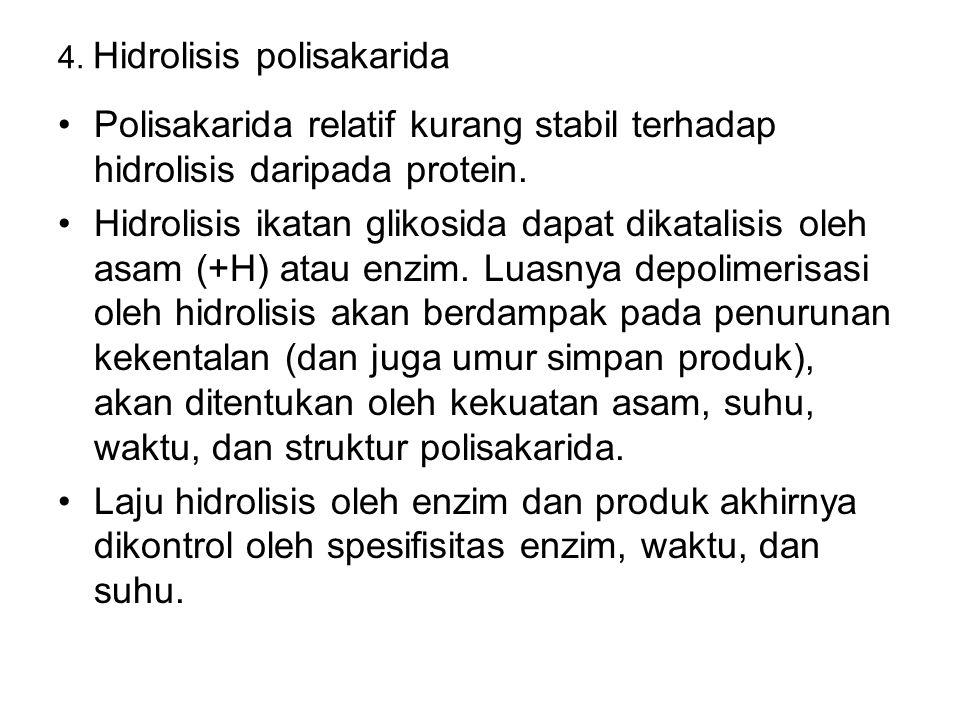 4. Hidrolisis polisakarida Polisakarida relatif kurang stabil terhadap hidrolisis daripada protein. Hidrolisis ikatan glikosida dapat dikatalisis oleh