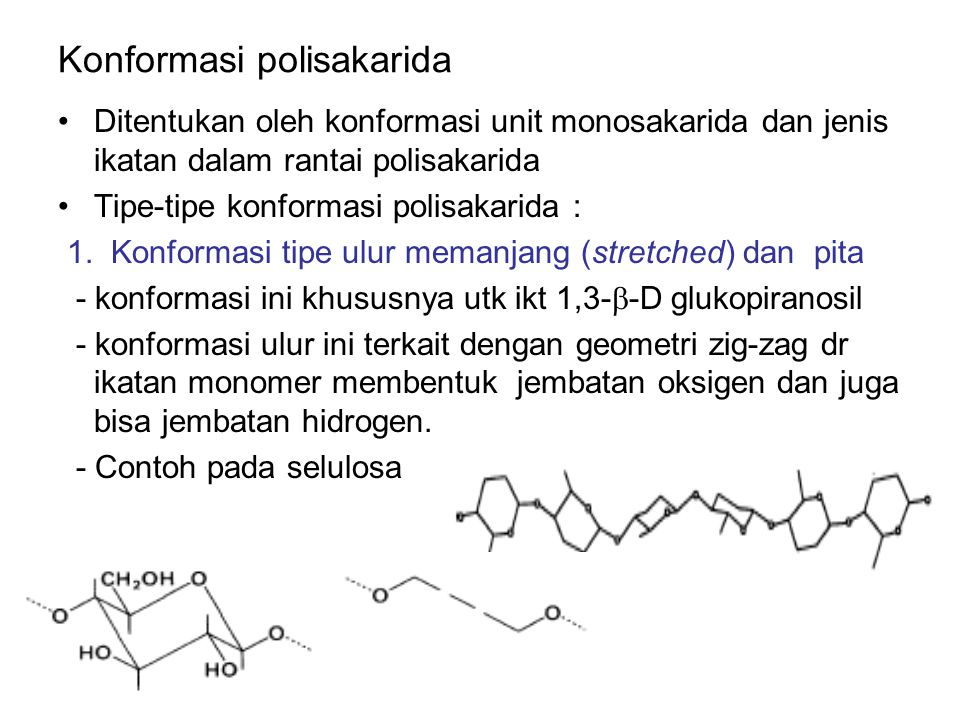 Polimer linier molekul polisakarida dalam larutan akan berputar dan merenggang menyapu ruangan.