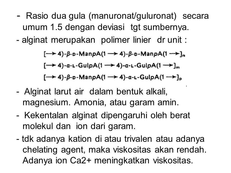- Rasio dua gula (manuronat/guluronat) secara umum 1.5 dengan deviasi tgt sumbernya. - alginat merupakan polimer linier dr unit : - Alginat larut air