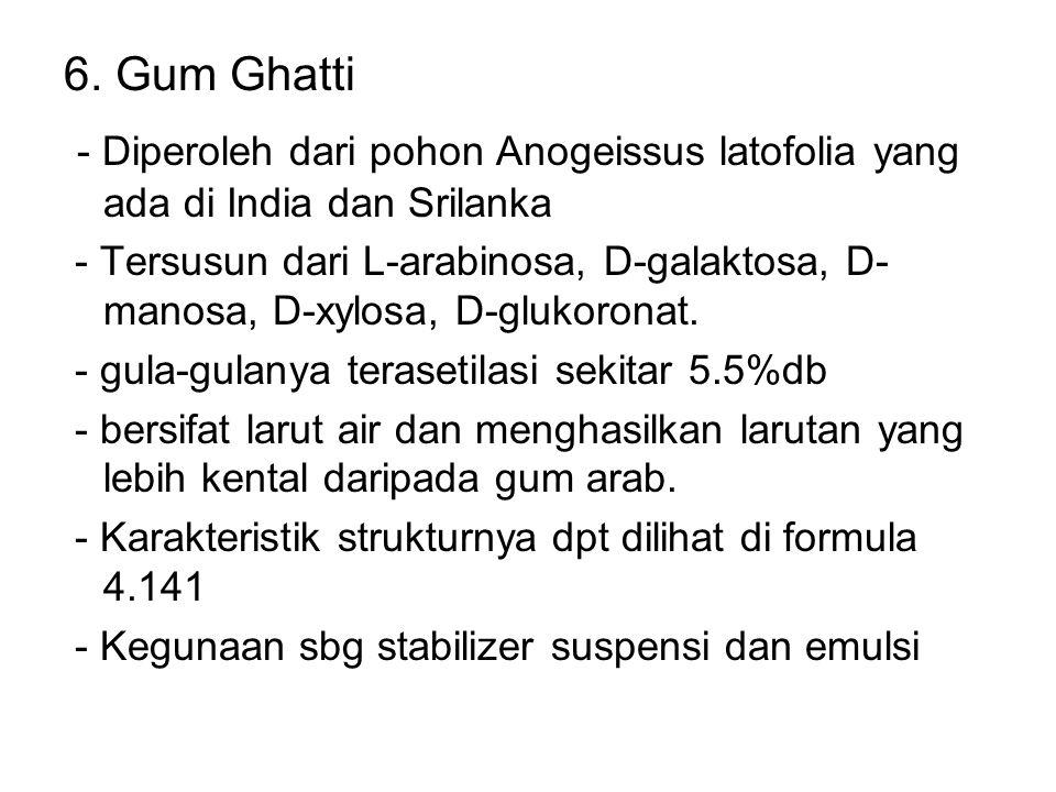 6. Gum Ghatti - Diperoleh dari pohon Anogeissus latofolia yang ada di India dan Srilanka - Tersusun dari L-arabinosa, D-galaktosa, D- manosa, D-xylosa