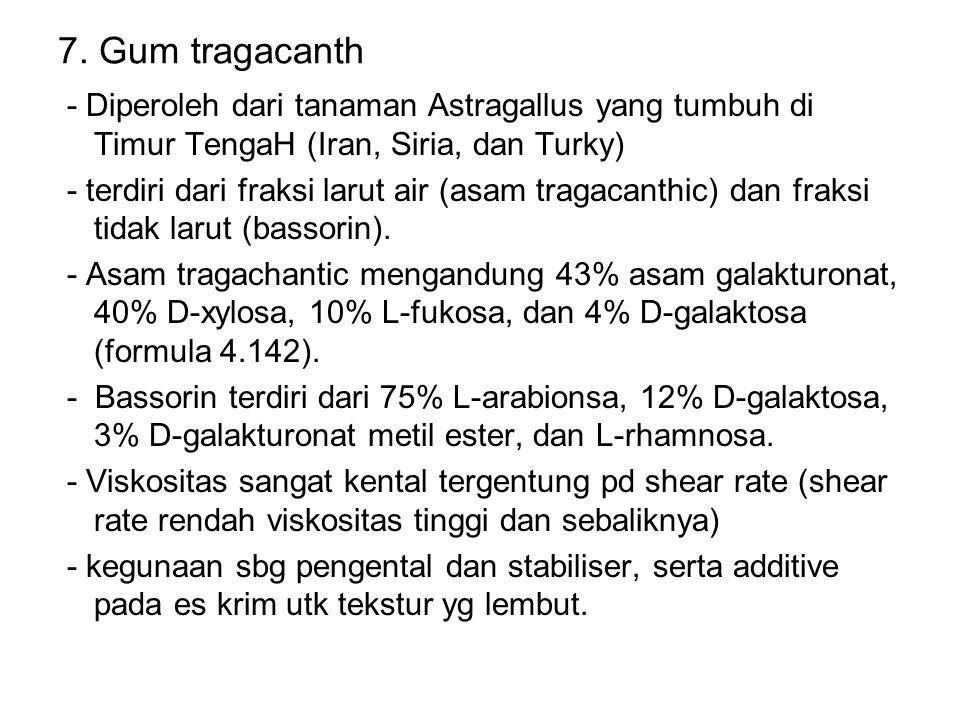 7. Gum tragacanth - Diperoleh dari tanaman Astragallus yang tumbuh di Timur TengaH (Iran, Siria, dan Turky) - terdiri dari fraksi larut air (asam trag