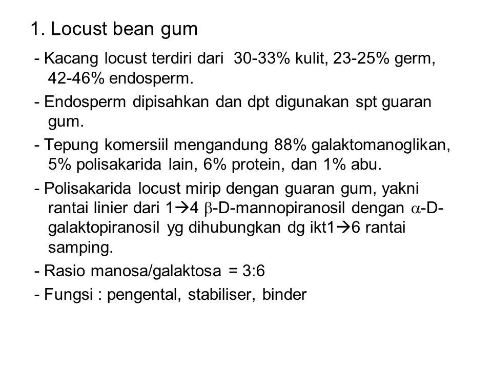 1. Locust bean gum - Kacang locust terdiri dari 30-33% kulit, 23-25% germ, 42-46% endosperm. - Endosperm dipisahkan dan dpt digunakan spt guaran gum.