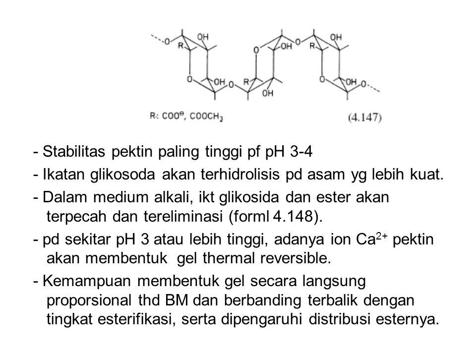 - Stabilitas pektin paling tinggi pf pH 3-4 - Ikatan glikosoda akan terhidrolisis pd asam yg lebih kuat. - Dalam medium alkali, ikt glikosida dan este