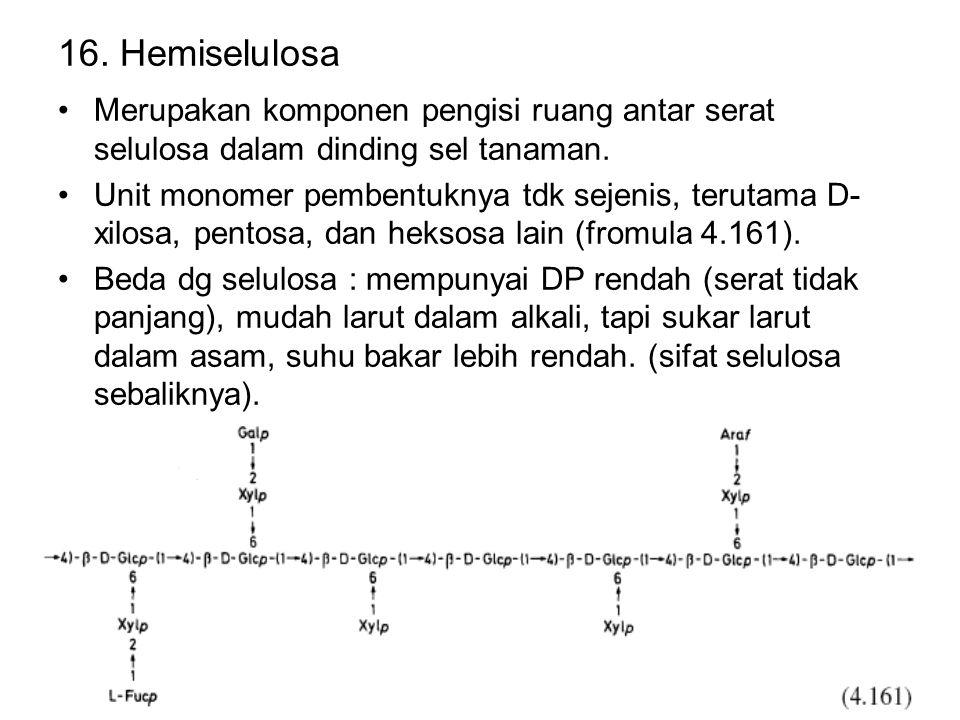 16. Hemiselulosa Merupakan komponen pengisi ruang antar serat selulosa dalam dinding sel tanaman. Unit monomer pembentuknya tdk sejenis, terutama D- x