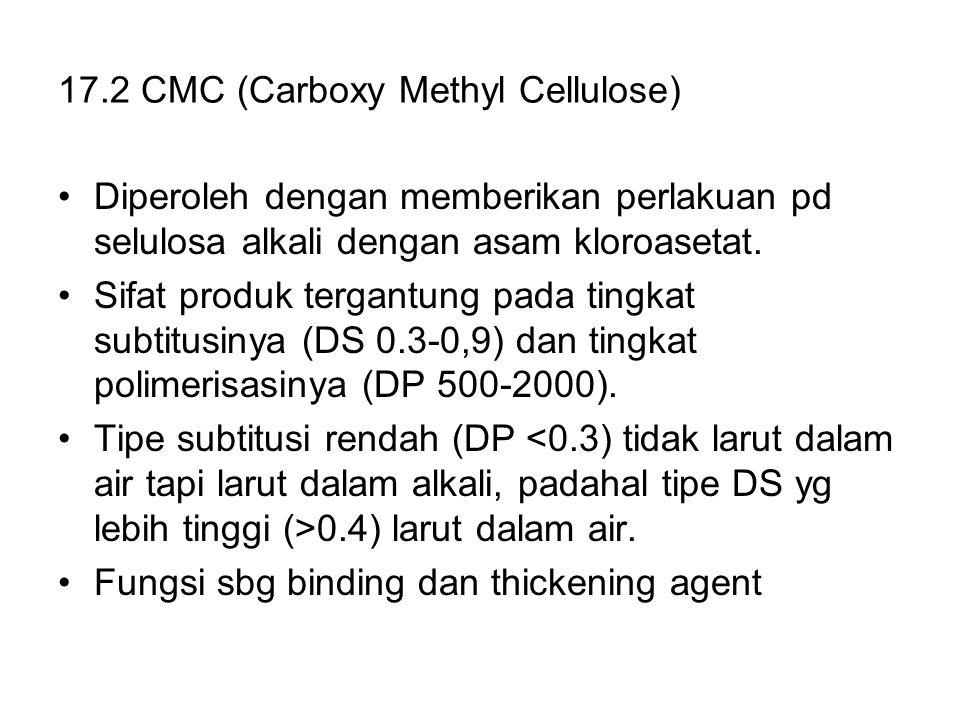 17.2 CMC (Carboxy Methyl Cellulose) Diperoleh dengan memberikan perlakuan pd selulosa alkali dengan asam kloroasetat. Sifat produk tergantung pada tin