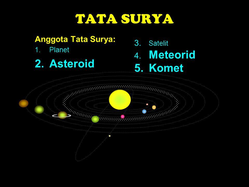 TATA SURYA Anggota Tata Surya: 1.Planet 2.Asteroid 3. Satelit 4. Meteorid 5.Komet
