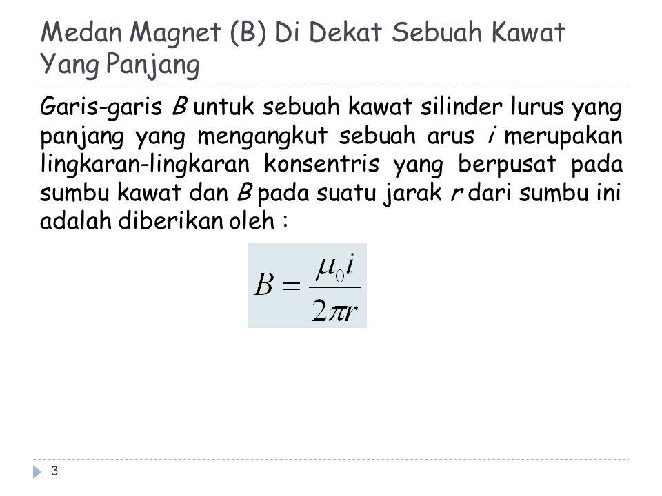 Hukum Biot-Savart 14 Menurut hukum Biot-Savart, maka besarnya dB adalah diberikan oleh :