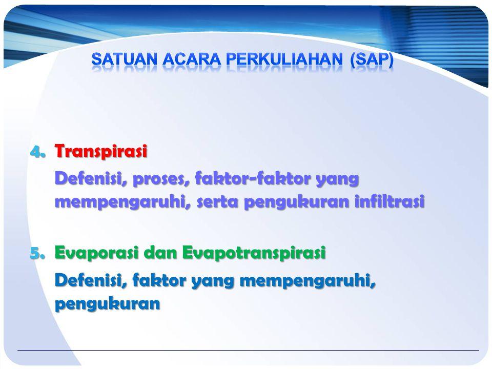 4.Transpirasi Defenisi, proses, faktor-faktor yang mempengaruhi, serta pengukuran infiltrasi 5.Evaporasi dan Evapotranspirasi Defenisi, faktor yang mempengaruhi, pengukuran