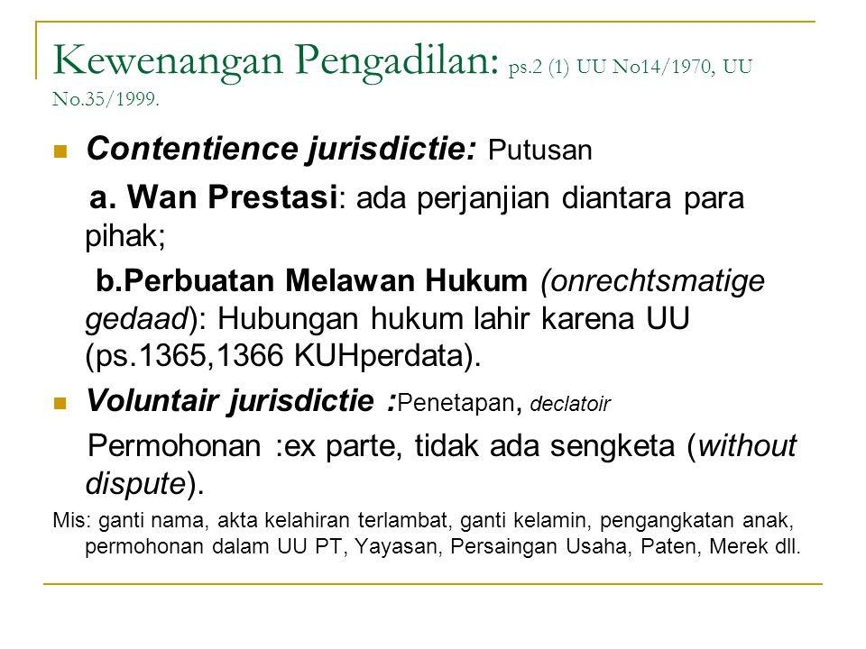 Kewenangan Pengadilan: ps.2 (1) UU No14/1970, UU No.35/1999. Contentience jurisdictie: Putusan a. Wan Prestasi : ada perjanjian diantara para pihak; b
