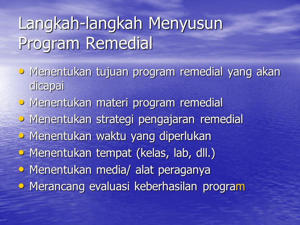 Langkah-langkah Menyusun Program Remedial Menentukan tujuan program remedial yang akan dicapai Menentukan tujuan program remedial yang akan dicapai Menentukan materi program remedial Menentukan materi program remedial Menentukan strategi pengajaran remedial Menentukan strategi pengajaran remedial Menentukan waktu yang diperlukan Menentukan waktu yang diperlukan Menentukan tempat (kelas, lab, dll.) Menentukan tempat (kelas, lab, dll.) Menentukan media/ alat peraganya Menentukan media/ alat peraganya Merancang evaluasi keberhasilan program Merancang evaluasi keberhasilan program