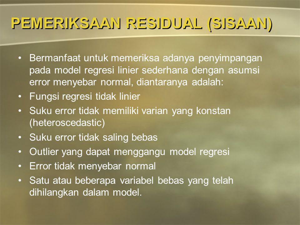 PEMERIKSAAN RESIDUAL (SISAAN) Bermanfaat untuk memeriksa adanya penyimpangan pada model regresi linier sederhana dengan asumsi error menyebar normal,