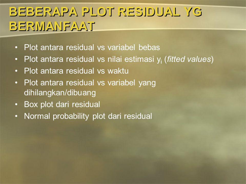 BEBERAPA PLOT RESIDUAL YG BERMANFAAT Plot antara residual vs variabel bebas Plot antara residual vs nilai estimasi y i (fitted values) Plot antara res