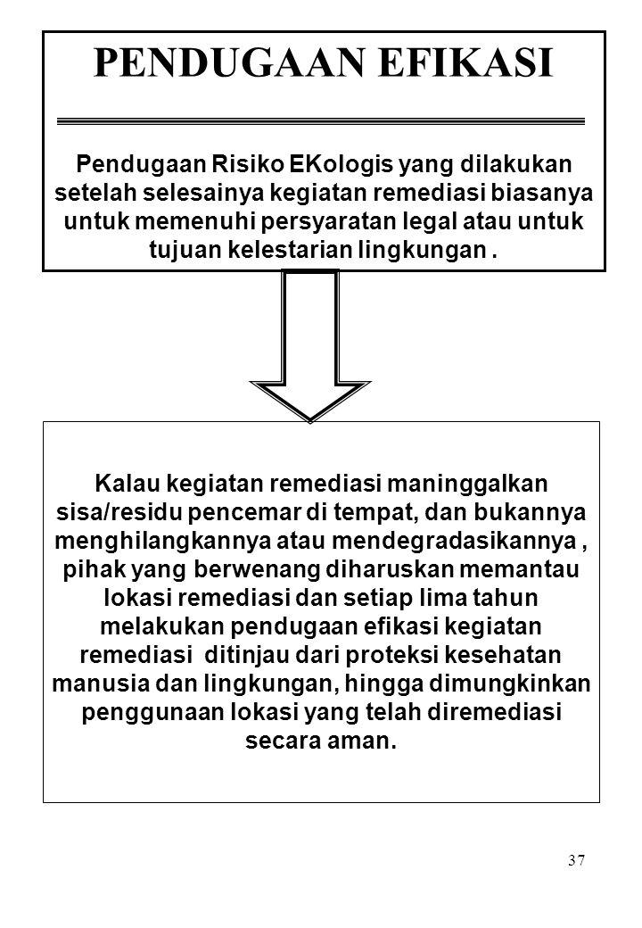 37 PENDUGAAN EFIKASI Pendugaan Risiko EKologis yang dilakukan setelah selesainya kegiatan remediasi biasanya untuk memenuhi persyaratan legal atau unt
