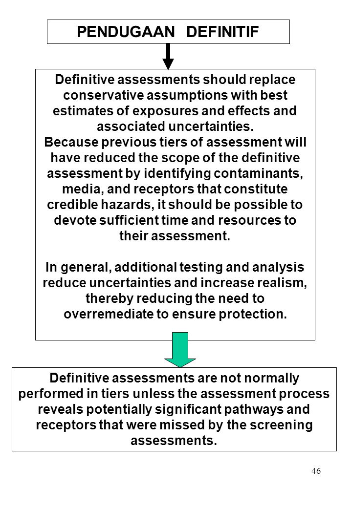 46 Definitive assessments should replace conservative assumptions with best estimates of exposures and effects and associated uncertainties. Because p