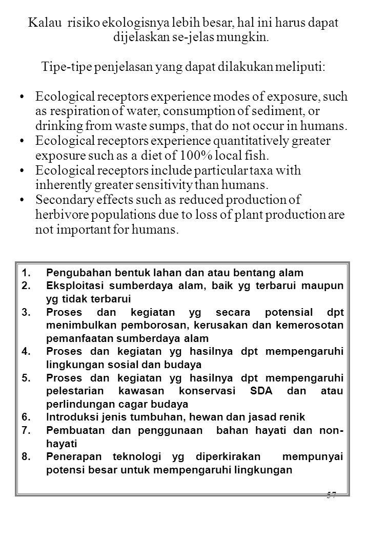 57 Kalau risiko ekologisnya lebih besar, hal ini harus dapat dijelaskan se-jelas mungkin. Tipe-tipe penjelasan yang dapat dilakukan meliputi: Ecologic