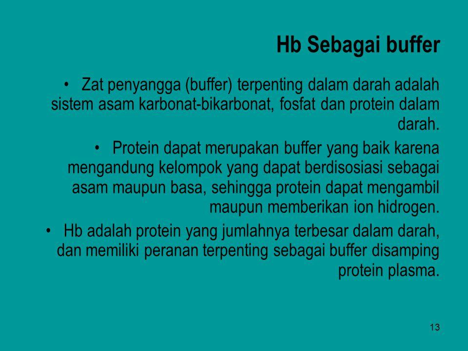 13 Hb Sebagai buffer Zat penyangga (buffer) terpenting dalam darah adalah sistem asam karbonat-bikarbonat, fosfat dan protein dalam darah. Protein dap
