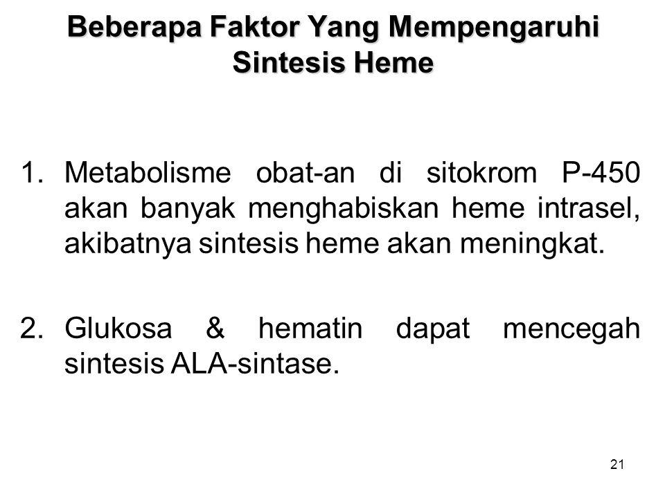 21 Beberapa Faktor Yang Mempengaruhi Sintesis Heme 1.Metabolisme obat-an di sitokrom P-450 akan banyak menghabiskan heme intrasel, akibatnya sintesis