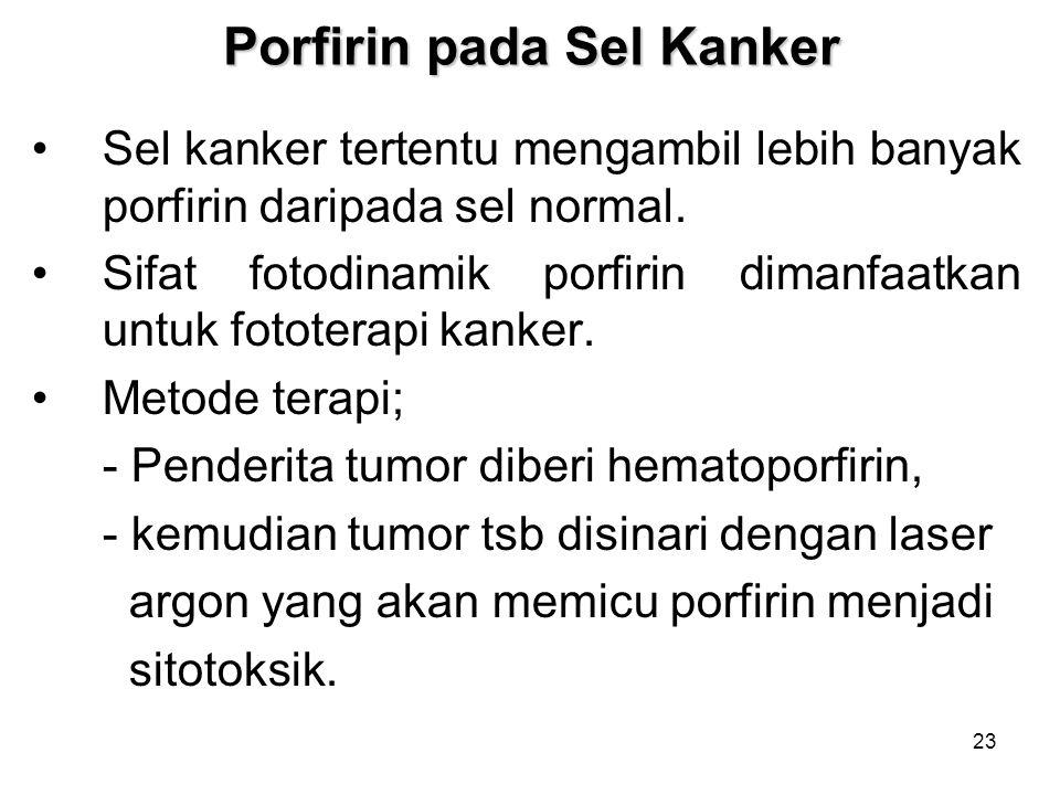 23 Porfirin pada Sel Kanker Sel kanker tertentu mengambil lebih banyak porfirin daripada sel normal. Sifat fotodinamik porfirin dimanfaatkan untuk fot