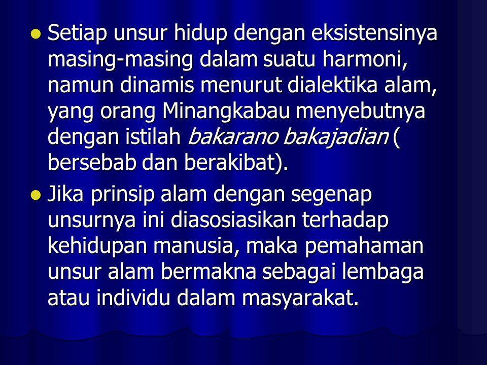 Setiap unsur hidup dengan eksistensinya masing-masing dalam suatu harmoni, namun dinamis menurut dialektika alam, yang orang Minangkabau menyebutnya dengan istilah bakarano bakajadian ( bersebab dan berakibat).