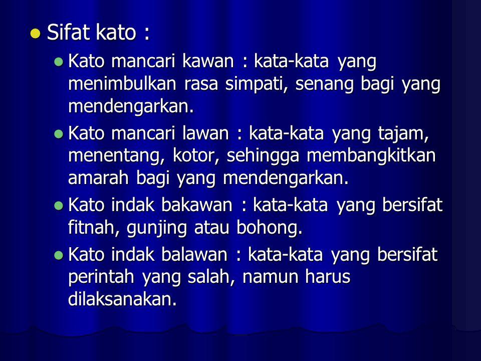 Sifat kato : Sifat kato : Kato mancari kawan : kata-kata yang menimbulkan rasa simpati, senang bagi yang mendengarkan.
