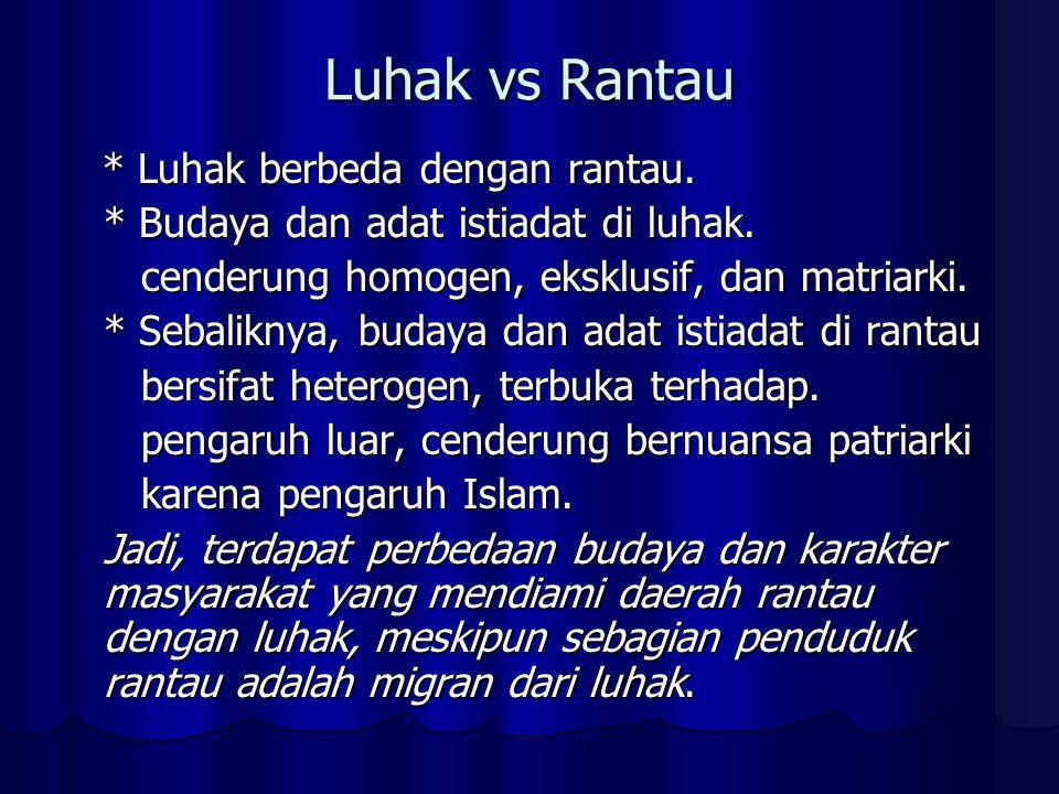 Luhak vs Rantau * Luhak berbeda dengan rantau.* Luhak berbeda dengan rantau.