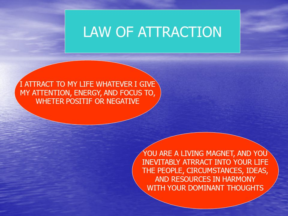 LAW OF ATTRACTION I ATTRACT TO MY LIFE WHATEVER I GIVE MY ATTENTION, ENERGY, AND FOCUS TO, WHETER POSITIF OR NEGATIVE YOU ARE A LIVING MAGNET, AND YOU INEVITABLY ATRRACT INTO YOUR LIFE THE PEOPLE, CIRCUMSTANCES, IDEAS, AND RESOURCES IN HARMONY WITH YOUR DOMINANT THOUGHTS