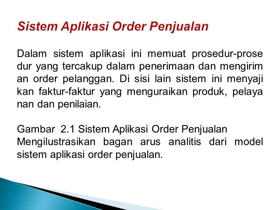 Dalam sistem aplikasi ini memuat prosedur-prose dur yang tercakup dalam penerimaan dan mengirim an order pelanggan. Di sisi lain sistem ini menyaji ka