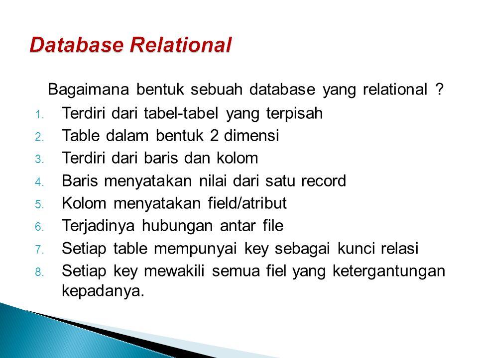 Bagaimana bentuk sebuah database yang relational ? 1. Terdiri dari tabel-tabel yang terpisah 2. Table dalam bentuk 2 dimensi 3. Terdiri dari baris dan