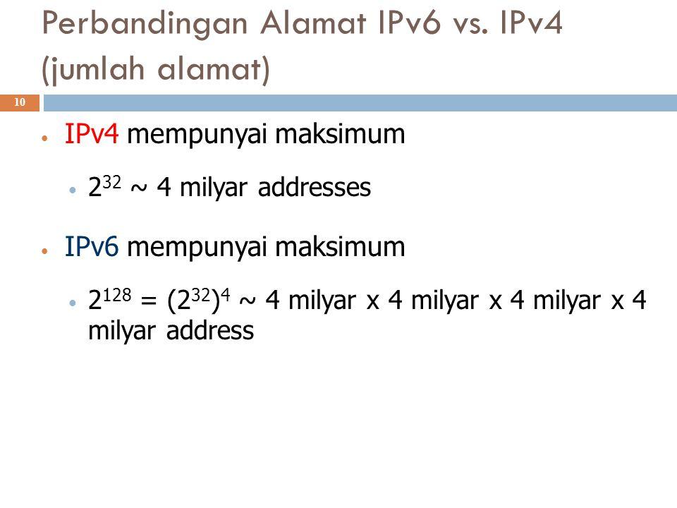 Perbandingan Alamat IPv6 vs. IPv4 (jumlah alamat)  10 IPv4 mempunyai maksimum 2 32 ~ 4 milyar addresses IPv6 mempunyai maksimum 2 128 = (2 32 ) 4 ~ 4