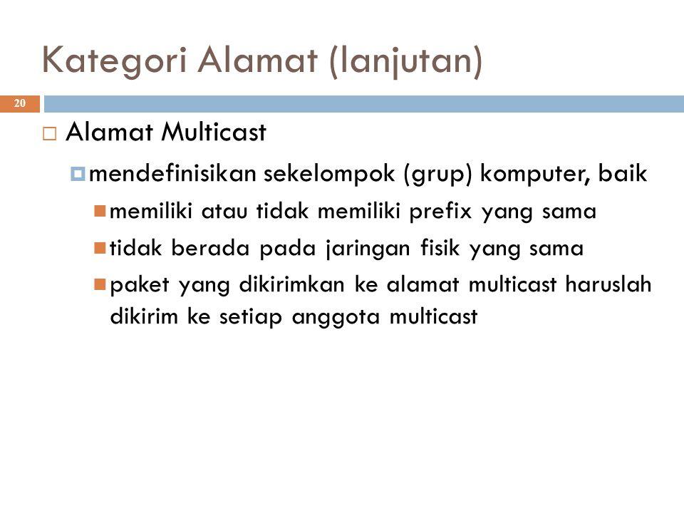 Kategori Alamat (lanjutan)  20  Alamat Multicast  mendefinisikan sekelompok (grup) komputer, baik memiliki atau tidak memiliki prefix yang sama tid