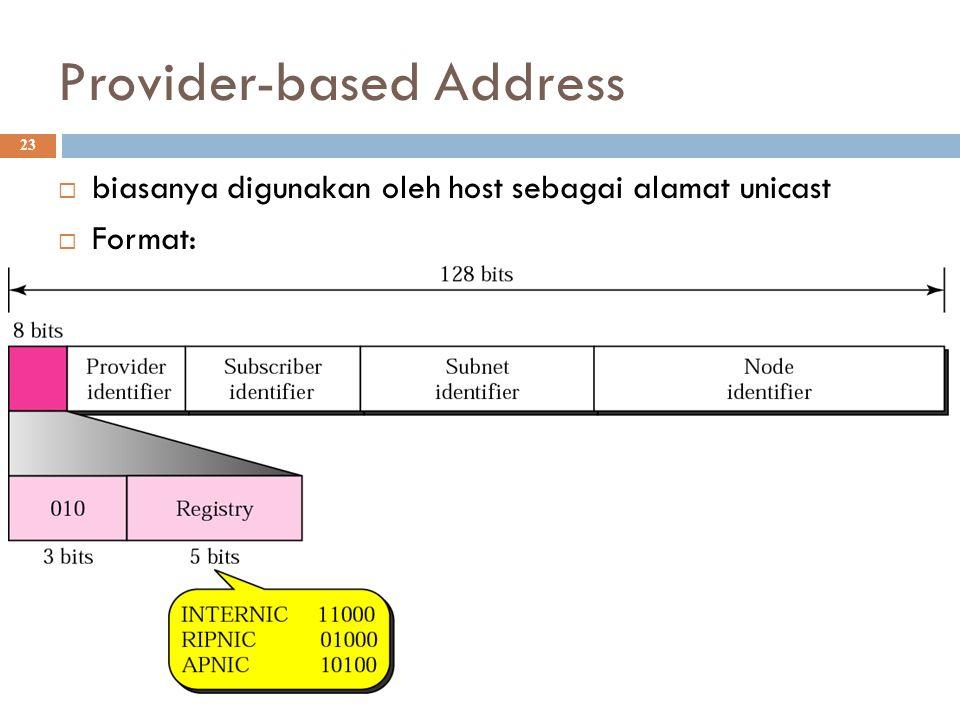 Provider-based Address 23  biasanya digunakan oleh host sebagai alamat unicast  Format:
