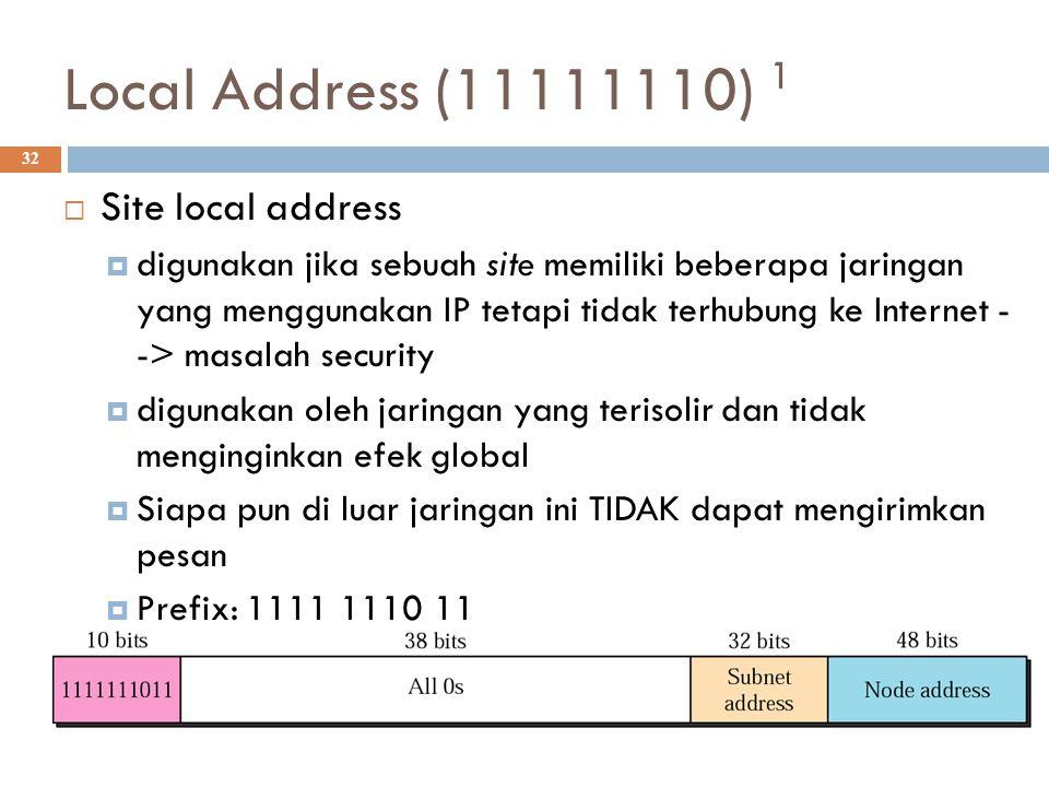 Local Address (11111110) 1 32  Site local address  digunakan jika sebuah site memiliki beberapa jaringan yang menggunakan IP tetapi tidak terhubung