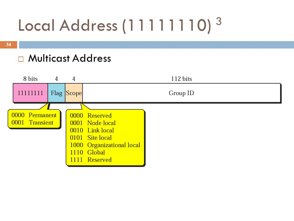 Local Address (11111110) 3 34  Multicast Address