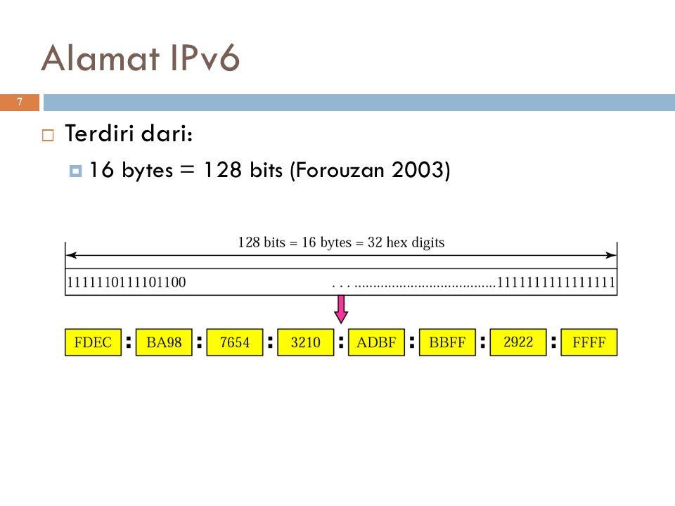 Alamat IPv6 7  Terdiri dari:  16 bytes = 128 bits (Forouzan 2003) 
