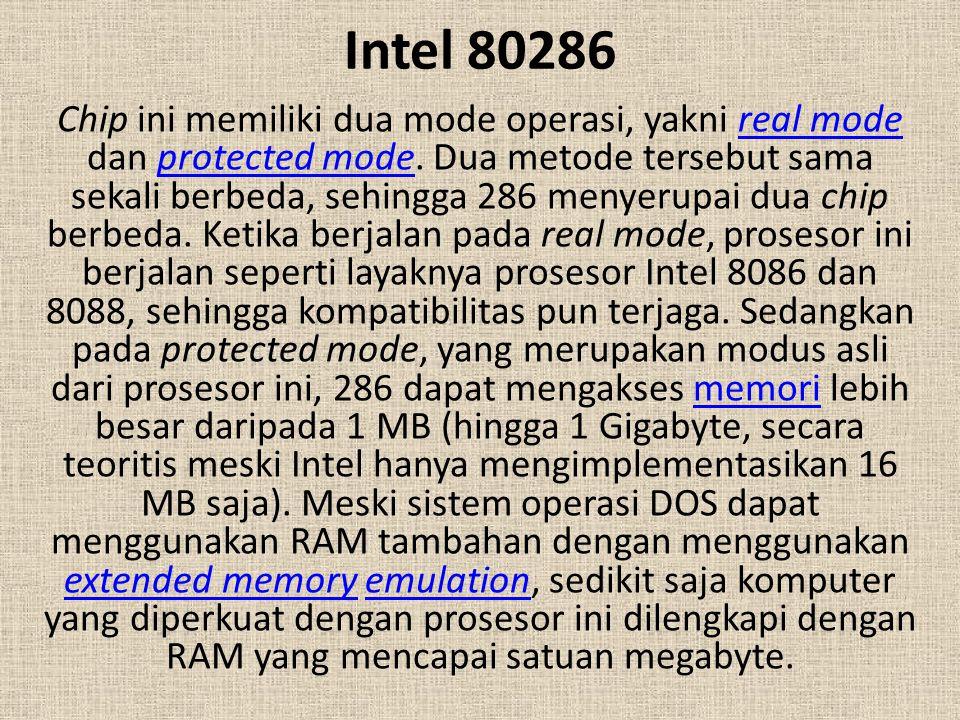 Intel 80286 Chip ini memiliki dua mode operasi, yakni real mode dan protected mode. Dua metode tersebut sama sekali berbeda, sehingga 286 menyerupai d