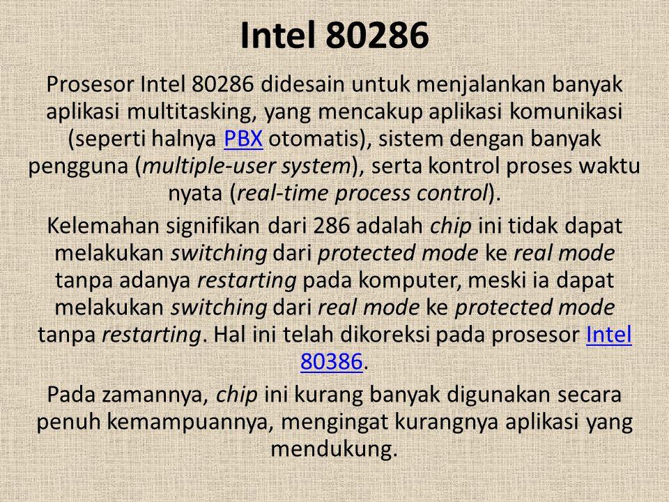 Intel 80286 Prosesor Intel 80286 didesain untuk menjalankan banyak aplikasi multitasking, yang mencakup aplikasi komunikasi (seperti halnya PBX otomat