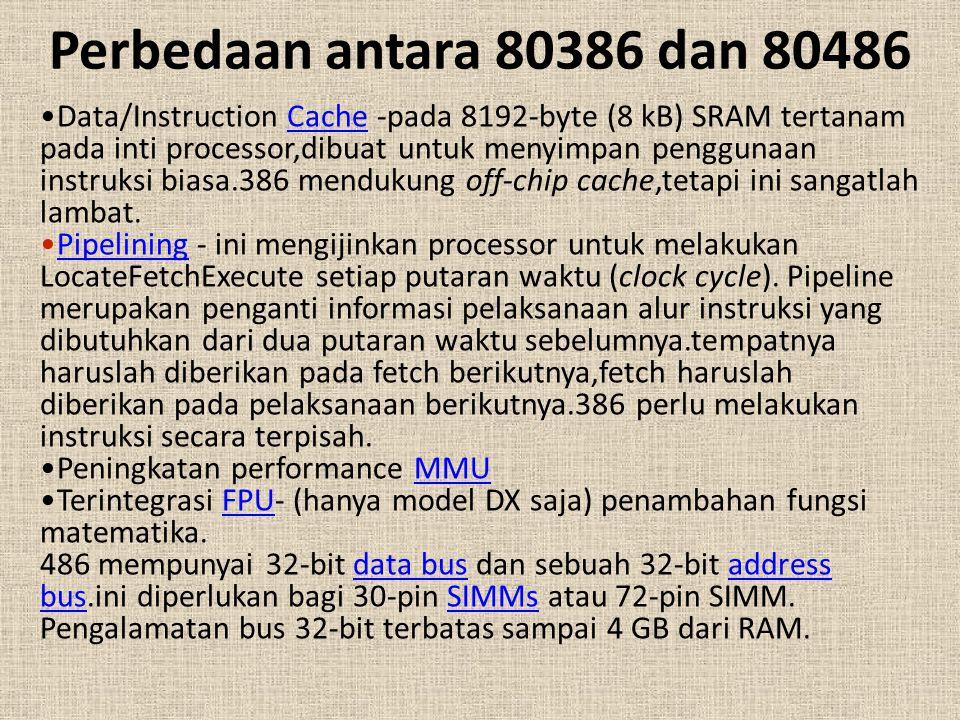 Perbedaan antara 80386 dan 80486 Data/Instruction Cache -pada 8192-byte (8 kB) SRAM tertanam pada inti processor,dibuat untuk menyimpan penggunaan ins