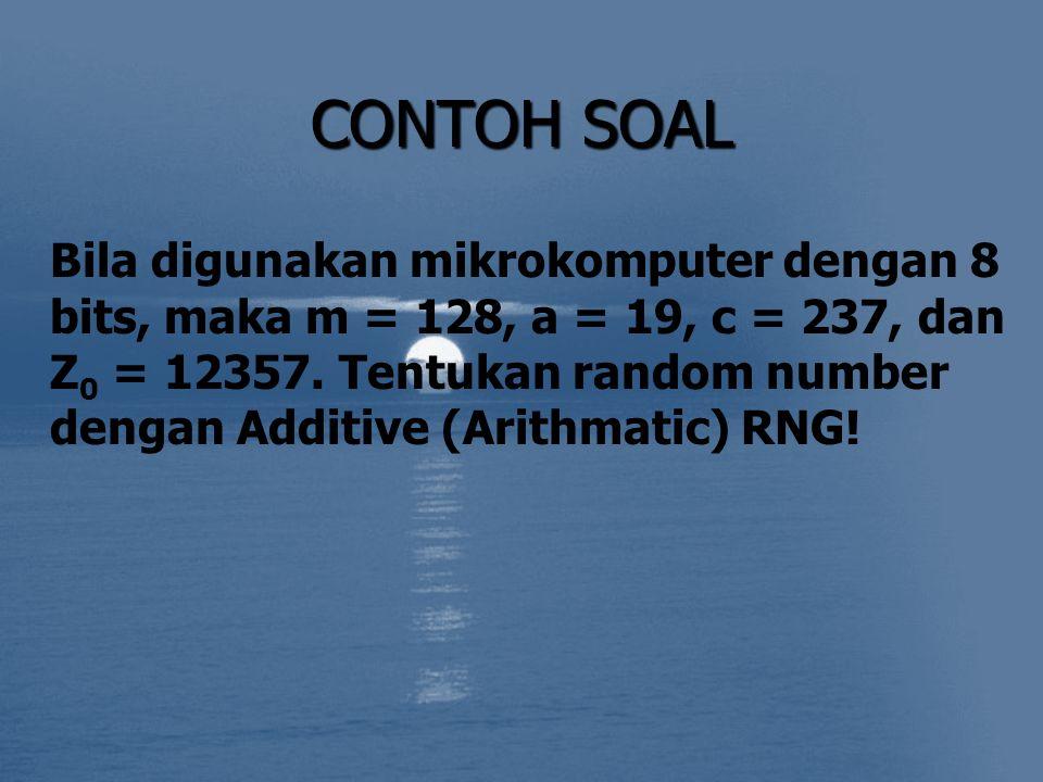 CONTOH SOAL Bila digunakan mikrokomputer dengan 8 bits, maka m = 128, a = 19, c = 237, dan Z 0 = 12357. Tentukan random number dengan Additive (Arithm
