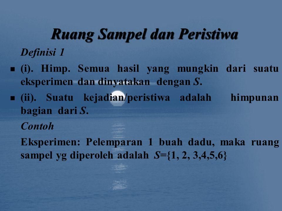 Definisi 1 (i). Himp. Semua hasil yang mungkin dari suatu eksperimen dan dinyatakan dengan S. (ii). Suatu kejadian/peristiwa adalah himpunan bagian da