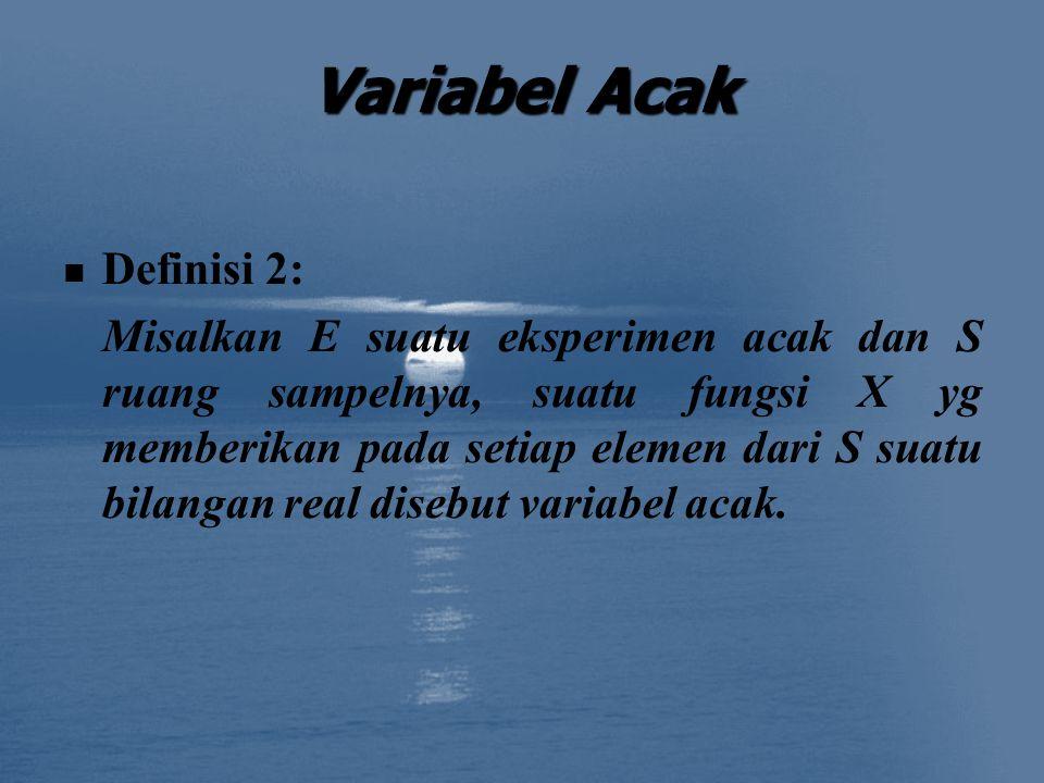 Variabel Acak Definisi 2: Misalkan E suatu eksperimen acak dan S ruang sampelnya, suatu fungsi X yg memberikan pada setiap elemen dari S suatu bilangan real disebut variabel acak.