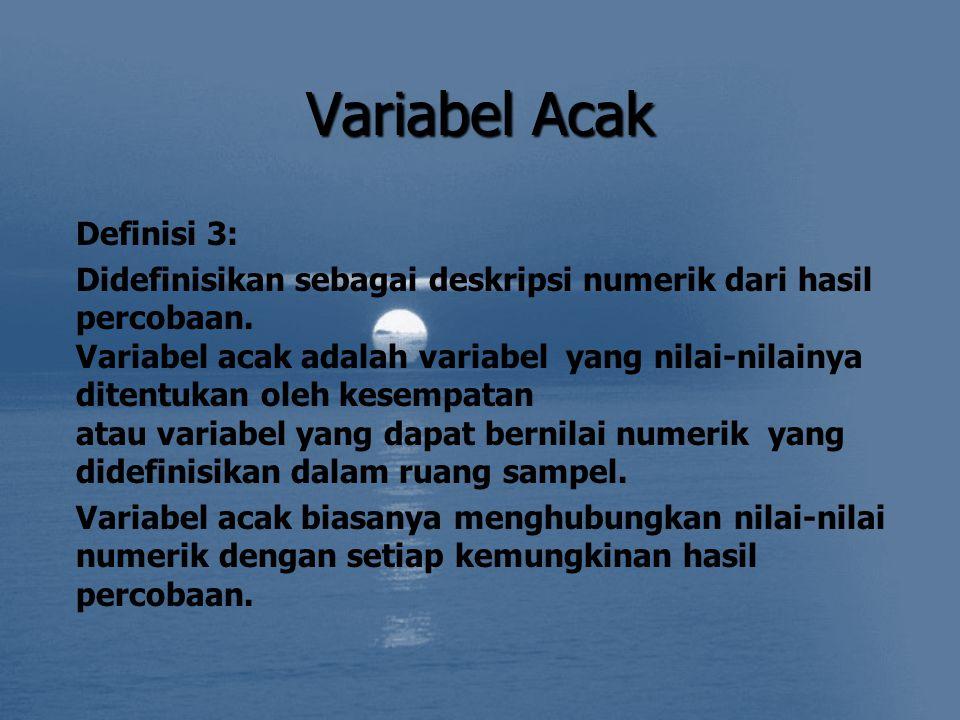 Variabel Acak Definisi 3: Didefinisikan sebagai deskripsi numerik dari hasil percobaan. Variabel acak adalah variabel yang nilai-nilainya ditentukan o