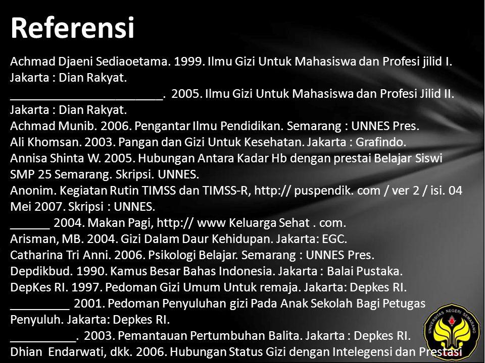 Referensi Achmad Djaeni Sediaoetama. 1999. Ilmu Gizi Untuk Mahasiswa dan Profesi jilid I. Jakarta : Dian Rakyat. _______________________. 2005. Ilmu G