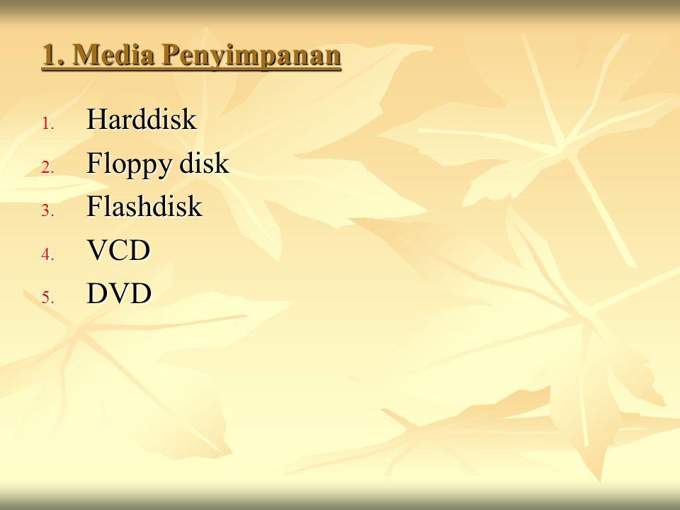 1. Media Penyimpanan 1. Harddisk 2. Floppy disk 3. Flashdisk 4. VCD 5. DVD
