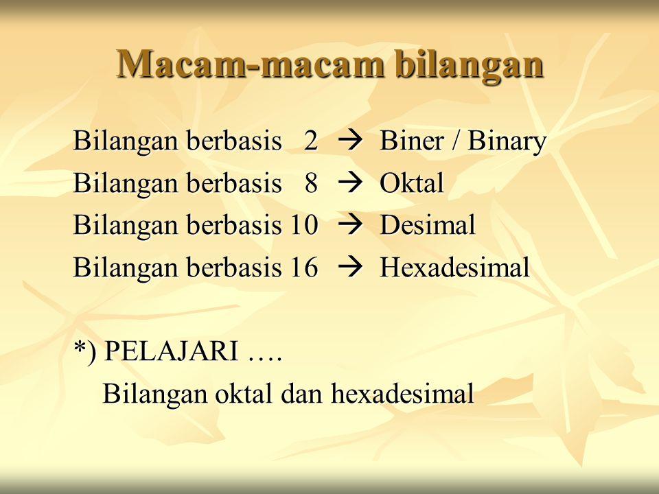 Macam-macam bilangan Bilangan berbasis 2  Biner / Binary Bilangan berbasis 8  Oktal Bilangan berbasis 10  Desimal Bilangan berbasis 16  Hexadesimal *) PELAJARI ….