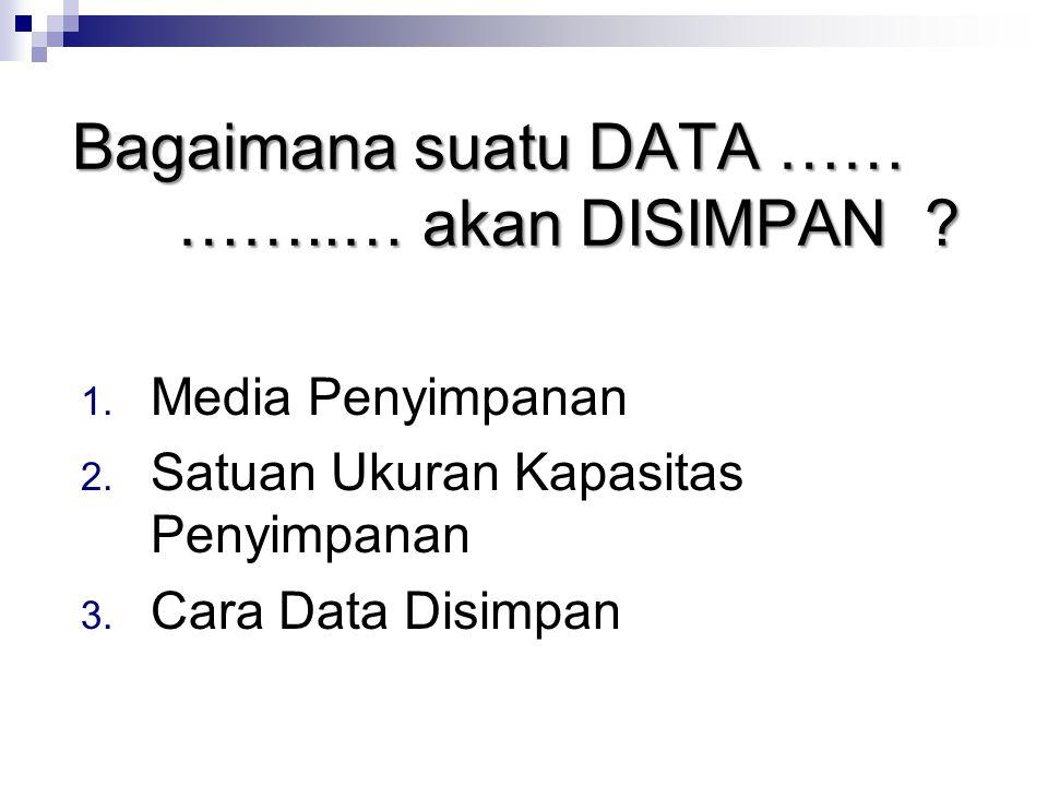 Bagaimana suatu DATA …… ……..… akan DISIMPAN ? 1. Media Penyimpanan 2. Satuan Ukuran Kapasitas Penyimpanan 3. Cara Data Disimpan