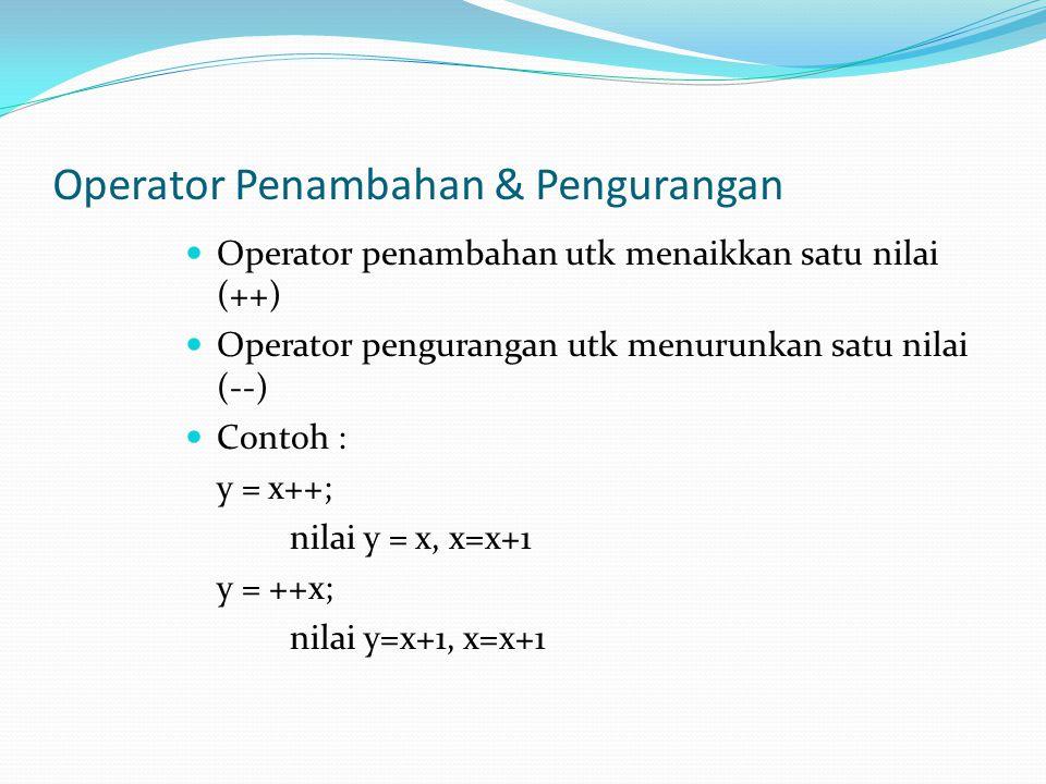 Operator Penambahan & Pengurangan Operator penambahan utk menaikkan satu nilai (++) Operator pengurangan utk menurunkan satu nilai (--) Contoh : y = x