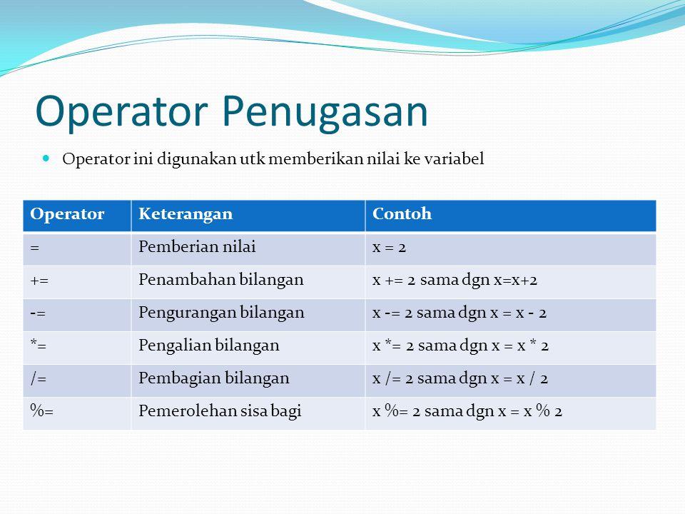 Operator Penugasan Operator ini digunakan utk memberikan nilai ke variabel OperatorKeteranganContoh =Pemberian nilaix = 2 +=Penambahan bilanganx += 2