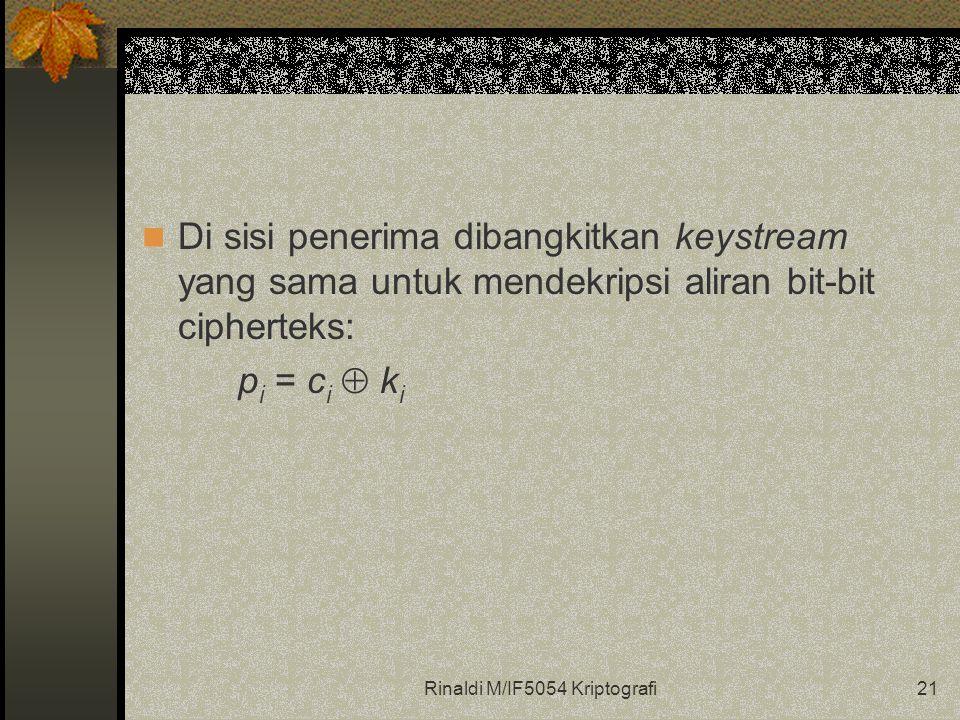 Rinaldi M/IF5054 Kriptografi21 Di sisi penerima dibangkitkan keystream yang sama untuk mendekripsi aliran bit-bit cipherteks: p i = c i  k i